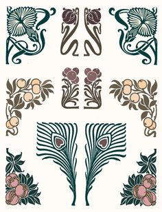 A really nice selection of art nouveau inspired images Best Picture For Art Deco artwork For Your Taste You are Motifs Art Nouveau, Azulejos Art Nouveau, Design Art Nouveau, Motif Art Deco, Art Nouveau Pattern, Bijoux Art Nouveau, Art Design, Design Elements, Art Deco Print
