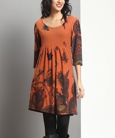 Reborn Collection Orange Paisley Empire-Waist Tunic | zulily