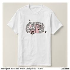Retro pink Black and White Glamper T-shirt