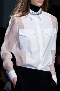 Sheer white shirt with panel & pockets; fashion details // Ports 1961