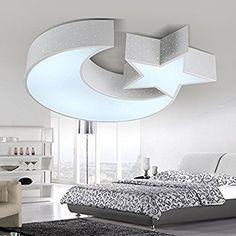 JJ Moderne LED Deckenleuchte Cartoon Kinderzimmer Lampe Warm Kleines  Schlafzimmer Licht Kreativ Sterne Mond Zimmer Weiße