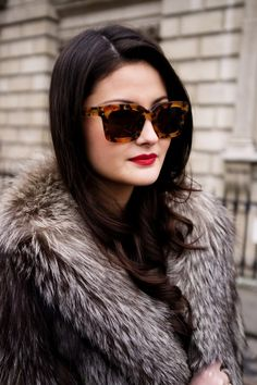 "Style Guide for Winter Glam: Oversized Shades + Fur + Red Lip  For a similar pair of sunglasses, check out Versace "" VE4270-507413 "" Sunglasses"