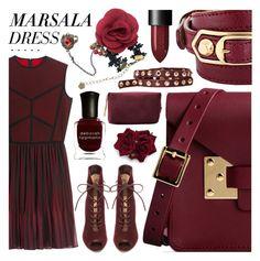 """Marsala Dress"" by pastelneon ❤ liked on Polyvore featuring Sophie Hulme, Elie Saab, Gianvito Rossi, Balenciaga, Linea Pelle, NARS Cosmetics, Deborah Lippmann, MANGO, Flowers and Trendy"