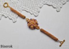 Золотистый браслет из бусин и бисера своими руками, простая схема для новичков, понятный мастер-класс
