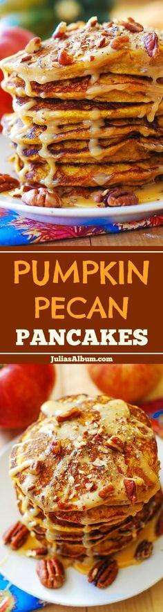 Pumpkin-Pecan Pancakes with Pecan Sauce #Thanksgiving #Fall #Holidays #breakfast