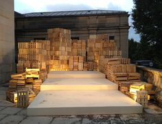 Creative stage idea, stacked boxes / crates wood stage performance space