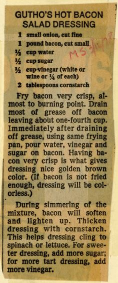 Gutho's Hot Bacon Salad Dressing - Historic Recipe - Collections hosted by the M. - Gutho's Hot Bacon Salad Dressing – Historic Recipe – Collections hosted by the Milwaukee Publ - Hot Bacon Dressing, Slaw Dressing, Vinaigrette Salad Dressing, Salad Dressing Recipes, Old Recipes, Vintage Recipes, Cooking Recipes, Milwaukee, Sauces