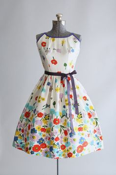 Vintage 1950s Dress / 50s Cotton Dress / Kay by TuesdayRoseVintage