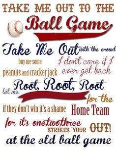 Take me Out to the Ball Game {Free Printable!}