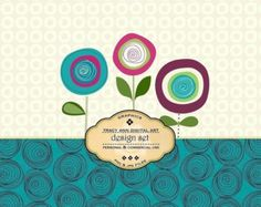 1/2 PRICE Digital Design Set Paper and Clip Art for invites, card making, digital scrapbooking - Bold Bloom 2