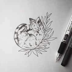 Image result for cat with flower tattoo
