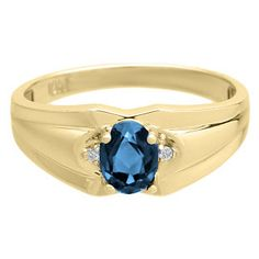 Mens Ring With Oval Cut London Topaz Stone and Diamonds In Yellow Gold Available Exclusively at Gemologica.com