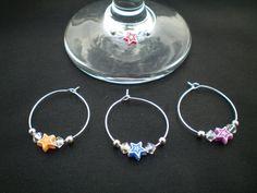 Star wine glass charms, Swarovski crystal glass charms, Set of 4 glass markers, star charms, party accessory, housewarming gift for her.