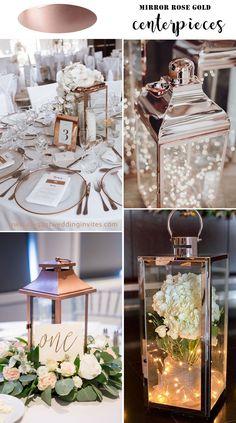 Rose Gold Centerpiece, Gold Wedding Centerpieces, Lantern Centerpiece Wedding, Wedding Lanterns, Diy Wedding Decorations, Wedding Tables, Rose Gold Lantern, Rose Gold Mirror, Black Wedding Themes