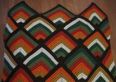 Unique Orange Brown Green White Crochet Afghan Blanket Liner