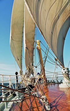 """The foredeck of """"Sorlandet"""", sailing West. Baltic Sea, Riga, Latvia, by EMJ Leclerc. One of my favorite tall ships photos. Sailing Cruises, Sailing Ships, Cruise Italy, Baltic Region, Sail Away, Baltic Sea, Tall Ships, Greek Islands, World Heritage Sites"""