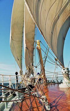 "The foredeck of ""Sorlandet"", sailing West. Baltic Sea, Riga, Latvia, by EMJ Leclerc. One of my favorite tall ships photos. Sailing Cruises, Sailing Ships, Cruise Italy, Charter Boat, Sail Away, Baltic Sea, Luxury Yachts, Tall Ships, Coastal"