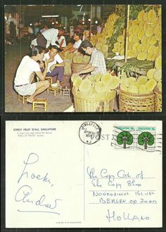 Singapore Street Fruit Stall Durian with 2 stamps 1976 #Postcard
