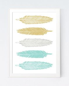 5 Mustard and Mint Feathers Art, Green and Gold Wall Printable, Shadows of Teal Turquoise Yellow Feathers Wall Decor Prints INSTANT DOWNLOAD by SutilDesigns on Etsy www.etsy.com/...