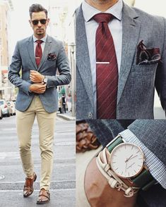 What my boyfriend wore business fashion, business suits men, grid game, suit fashion Grey Blazer Outfit, Blazer Outfits Men, Fall Outfits, Mens Fashion Suits, Mens Suits, Terno Slim, Moda Formal, Style Masculin, Suit Accessories