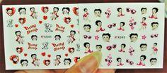 2 sheets Betty Boop Nail Decals, Betty Boop Nail Sticker, Nail Art, Cartoon Nails, Pin Up Nail Design, Nail Art, 50s Cartoon, 3d Nails