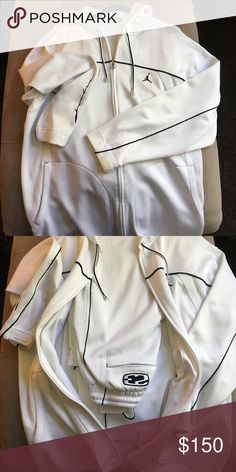 Jordan jogger Jordan jogger white with black accent! Heavy knit, gently worn! Jordan Pants Sweatpants & Joggers