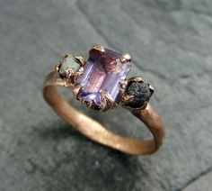 I'm obsessed.... Raw Diamond Amethyst Gemstone 14k Rose Gold Engagement Ring Wedding Ring One Of a Kind Gemstone Ring Bespoke Three stone Ring byAngeline    Raw rough
