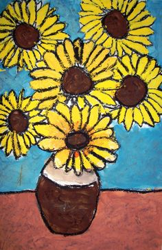 Textured Sunflowers. She had the students draw outlines with black crayon then paint using tempera (finger paint!) to create texture like Van Gogh. Outline with black oil pastel when finished.