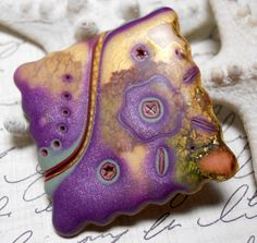 Polymer Clay Pin by TLS Clay Design. via Etsy.