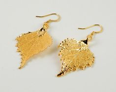 24K Gold Real Birch Leaf Earrings by MaryMorrisJewelry, $28.00 #birch #leaf #earings