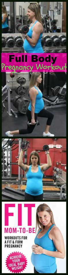 20 Dumbbell Bicep Curls, 20 Stationary Lunges, 20 Dumbbell Shoulder Presses in a circuit fashion, rest 60 seconds and repeat 2 more times. Works the whole body to help prevent excess weight gain. More Pregnancy Workouts to have a healthy and fit pregnancy here.