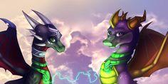 Dawn of the Dragon by IcelectricSpyro.deviantart.com on @DeviantArt Spyro And Cynder, Childhood Games, Spyro The Dragon, Skylanders, Cool Dragons, Kid Icarus, Crash Bandicoot, Digital Media, Horn