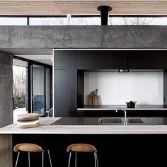 """The perfect balance ~  @elledecor #love #balance #concrete #wood #marble #kitchen #interiors #interiordesign #interiorinspiration #style #design #architecture #black #stools #theoldsalt"" Photo taken by @the_old_salt on Instagram, pinned via the InstaPin iOS App! http://www.instapinapp.com (12/28/2015)"