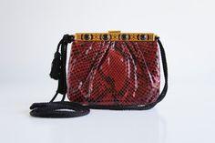 Vintage JUDITH LEIBER Red Python Cross-Body Mini Bag w/ Black Tassel Strap