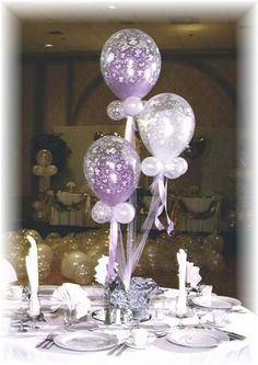 Lavender and white balloon centerpieces