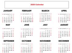 Print Free Yearly Calendar 2020 With Holidays Printable Yearly Calendar, Free Printable Calendar Templates, Printable Calendar 2020, Calendar Layout, Daily Calendar, Print Calendar, Printables, Create A Calendar, Pdf