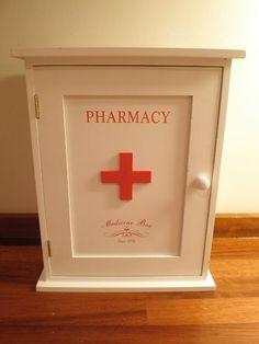 White wooden first aid box  vintage storage kitchen bathroom decorative holder