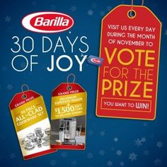 Barilla 30 Days Of Joy Instant Win Game & Sweepstakes