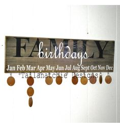 Birthday Sign Calendar Family Board Celebrations Wood Rustic Signs Gifts For The HomeSigns