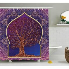Ambesonne Ethnic Shower Curtain, Tree with Curved Leafless Branches Middle Eastern Moroccan Arch Retro Art Design, Fabric Bathroom Decor Set with Hooks, 70 Inches, Purple Blue Striped Shower Curtains, Custom Shower Curtains, Fabric Shower Curtains, Moroccan Bathroom, Moroccan Decor, Middle Eastern Decor, Bathroom Decor Sets, Shower Curtain Sizes, Bath Linens