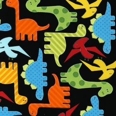 Dinosaurs on Black From Robert Kaufman de DinoFabric por DaWanda.com