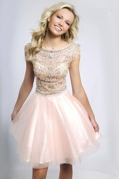 2014 New Arrival Homecoming Dresses A Line Scoop Short/Mini Tulle With Shining Beadings