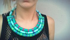 Check out Mayra, turquoise, colorful, climbing rope necklace, covered with thread, ethnic necklace, textile tribal fiber necklace, maasai style on utopiamanufactory