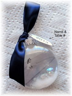 Winter Wedding Glass Name Card Favor OR  Escort Table by Rychei, $3.50
