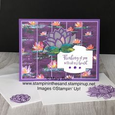 Card: With All My Heart Featuring The Lovely Lily Pad Collection – Stampin' In The Sand Stamping Up Cards, Paper Cards, Flower Cards, Lily Pad, I Card, Cardmaking, Stampin Up, Birthday Cards, Exotic Flowers