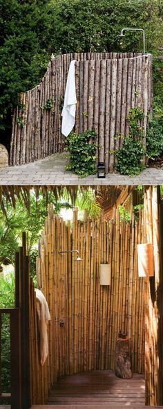 32 inspiring DIY outdoor showers: lots of ideas on how to build enclosures with simple materials, best outdoor shower fixtures, creative designs and more! diy 32 Beautiful & Easy DIY Outdoor Shower Ideas - A Piece of Rainbow Outdoor Shower Kits, Outdoor Shower Fixtures, Outdoor Shower Enclosure, Outdoor Showers, Outdoor Toilet, Outdoor Baths, Outdoor Bathrooms, Chic Bathrooms, Outdoor Kitchens
