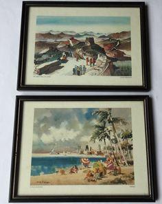 Vintage Dong Kingman Art Framed Prints  Miami   Great Wall Of China  Retro Cool