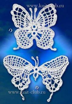 Вязаные бабочки крючком со схемами