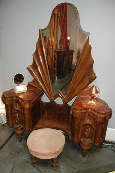 Art Deco Vanity with a subtle hint of Art Nouveau. Art Deco Furniture, Unique Furniture, Vintage Furniture, Furniture Design, Rustic Furniture, Bedroom Furniture, Furniture Ideas, Furniture Layout, Office Furniture