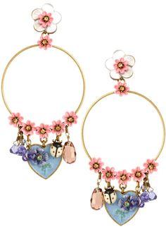 pink flowers + ladybugs [Les Nereides Statement Floral Heart Earrings]